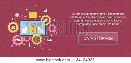 Data storage. Web banner slider or vector flat background.