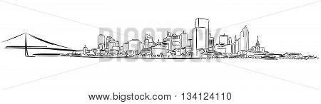 San Francisco Downtown Outline Sketch