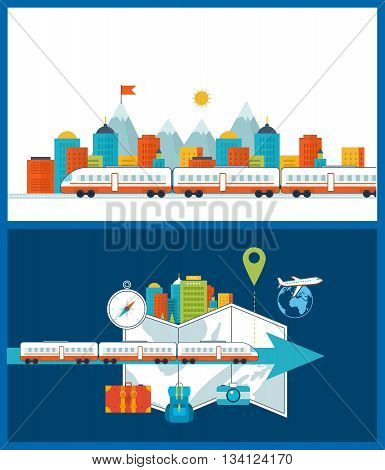 Train on railway. Train on the background of the city. Traveling on airplane, planning a summer vacation and tourism. Passenger transport concept. Urban landscape. Color line icons