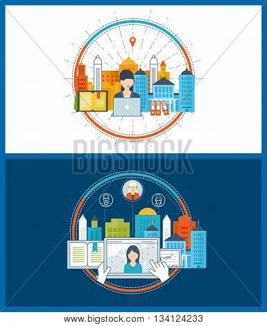 Concept for strategy planning, finance, strategic management, online education. Online training courses for investment. Social network and teamwork concept. School and university building icon.