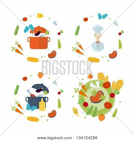 Concept icons for food and restaurant. Icons for cooking, fruits and vegetables, vegetarian food. Chef cooking. Cooking in kitchen