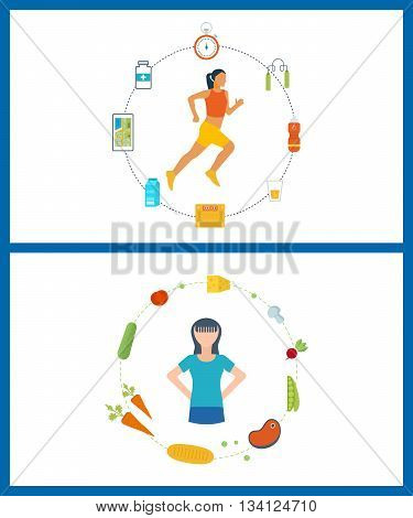 Running woman. Modern flat vector icons of healthy lifestyle, fitness and physical activity. Healthy lifestyle and fitness concept. Icons for cooking, fruits and vegetables. Healthy food.
