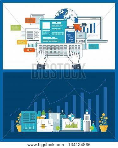 Concept for smart investment, finance, market data analytics, strategic management, financial planning. Investment growth. Concept for e-business, web sites, mobile applications, banners