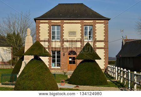 Fleury la Foret France - march 15 2016 : the picturesque city hall