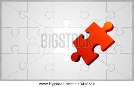 Vector puzzle with 3d pie vector background
