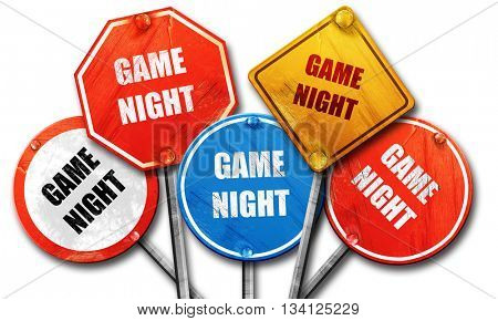 Game night sign, 3D rendering, rough street sign collection
