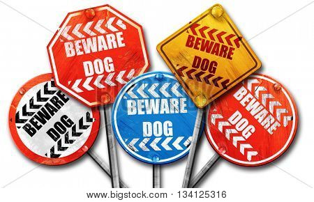 Beware of dog sign, 3D rendering, rough street sign collection