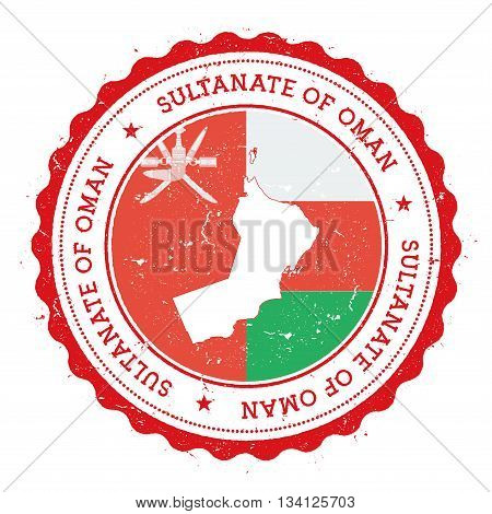 Oman Map And Flag In Vintage Rubber Stamp Of State Colours. Grungy Travel Stamp With Map And Flag Of
