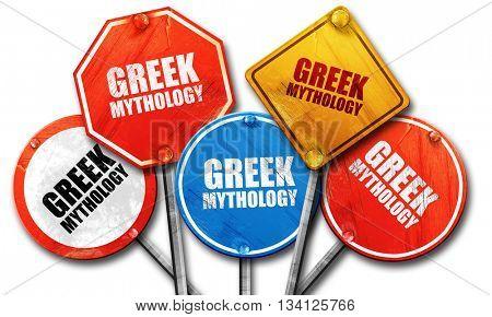 greek mythology, 3D rendering, rough street sign collection