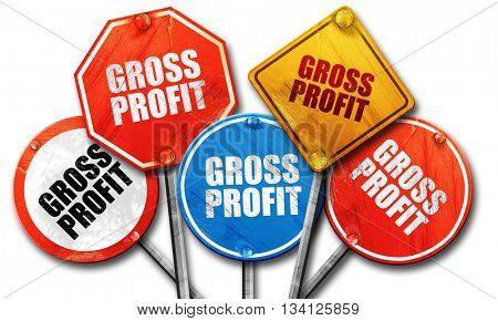 gross profit, 3D rendering, rough street sign collection