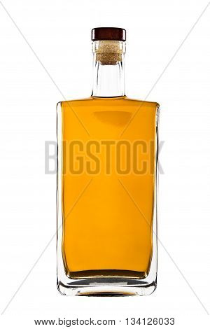 Bottle of whiskey isolated on a white background with clipping path