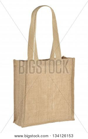 womens jute bag, isolated on a white