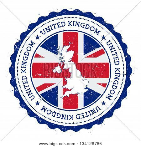 United Kingdom Map And Flag In Vintage Rubber Stamp Of State Colours. Grungy Travel Stamp With Map A