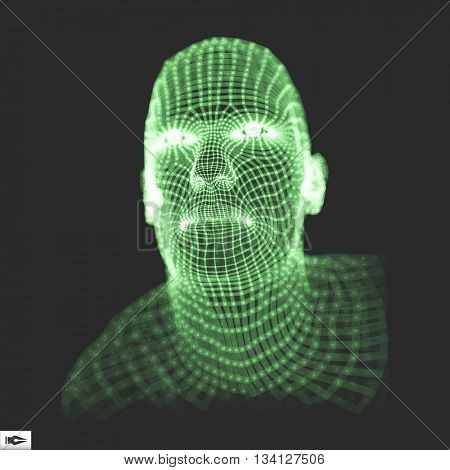Head of the Person from a 3d Grid. 3D Geometric Face Design. Vector Illustration.