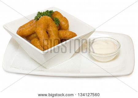 Fried squid rings isolated on white background