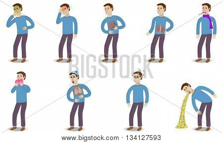 Sick characters set of people with pain and diseases isolated vector illustration.