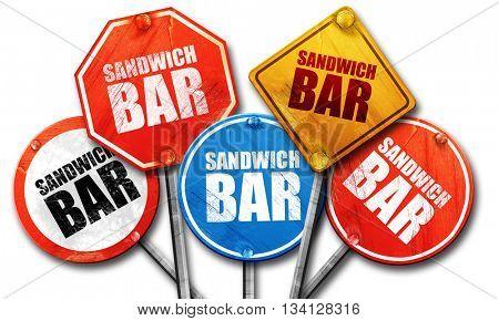 sandwich bar, 3D rendering, street signs