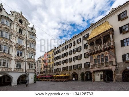 Square in front of the Golden Roof in Innsbruck, Austria