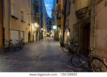 Alley in the city of Innsbruck, Austria, by night