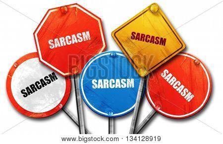 sarcasm, 3D rendering, street signs
