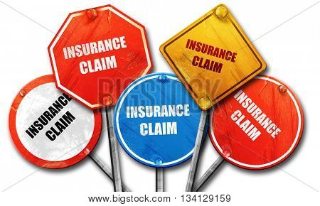 insurance claim, 3D rendering, rough street sign collection