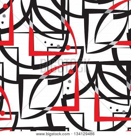 Abstract Geometric Pattern. A Seamless  Background. Black, Red And White Texture.
