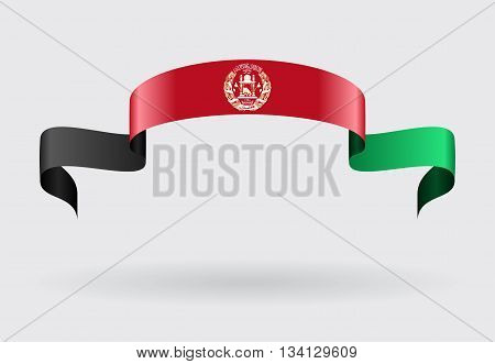 Afghan flag wavy abstract background. Vector illustration.