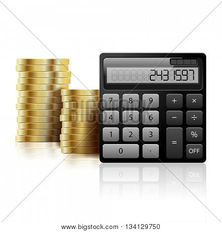 Gold Coins and calculator on a white background. Icon Business Concept. Illustration vector.