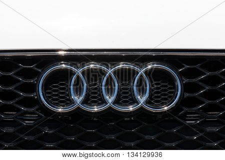 Tel Aviv, Israel, June 12, 2016: Audi emblem and front grill. Audi is a German automobile manufacturer that designs, engineers, produces, markets and distributes luxury vehicles.