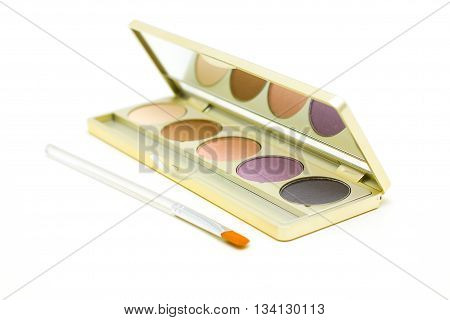 Cosmetics and make-up - eyeshadow with brush isolated