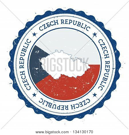 Czech Republic Map And Flag In Vintage Rubber Stamp Of State Colours. Grungy Travel Stamp With Map A