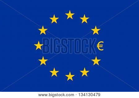 Flag of Europe European Union (EU) Euro sign instead of star
