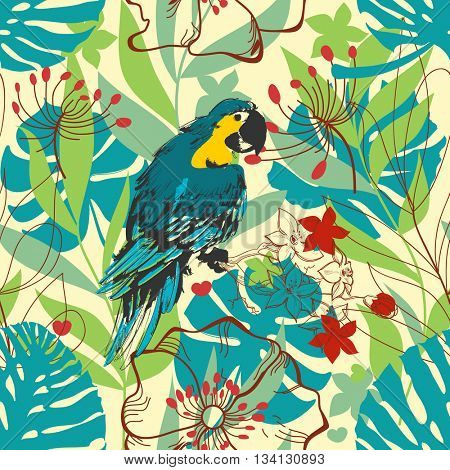 Nature seamless pattern. Tropical plants, leaves and colorful bird. Summer print