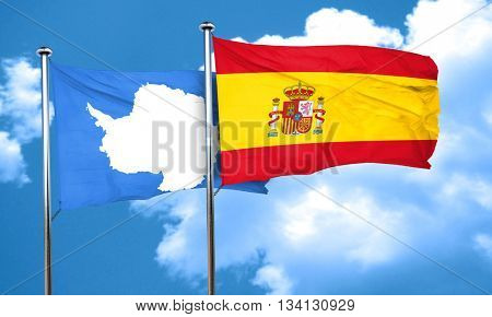 antarctica flag with Spain flag, 3D rendering
