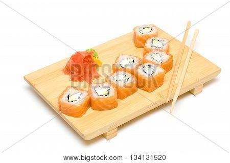 Sushi with Salmon Isolated on White Background - Japanese Cuisine