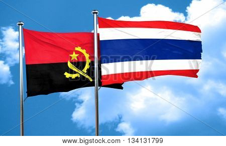 Angola flag with Thailand flag, 3D rendering