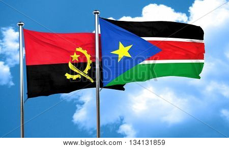 Angola flag with South Sudan flag, 3D rendering
