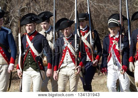 VALLEY FORGE, PA - FEBRUARY 18, 2012: Revolutionary War soldiers during a reenactment in Valley Forge National Historic Park