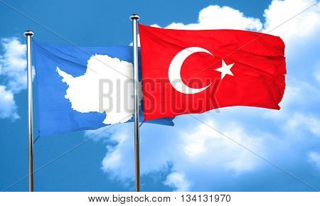 antarctica flag with Turkey flag, 3D rendering