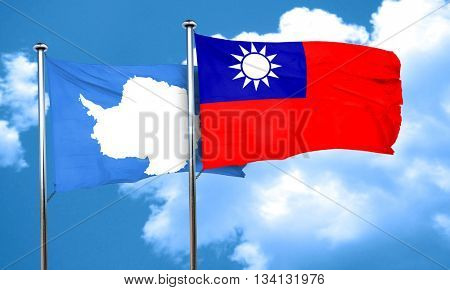antarctica flag with Taiwan flag, 3D rendering
