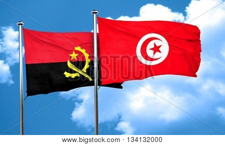 Angola flag with Tunisia flag, 3D rendering