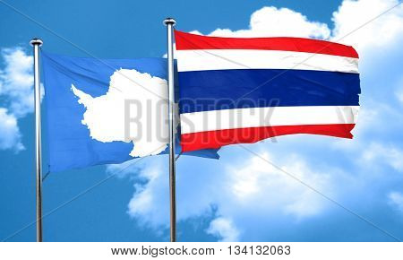 antarctica flag with Thailand flag, 3D rendering