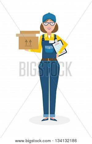 Delivery woman with parcel. Fast transportation. Isolated cartoon character on white background. Postwoman, courier with clipboard and package.