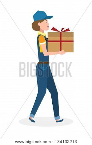 Delivery woman with gift. Fast transportation. Isolated cartoon character on white background. Postwoman, courier with gift, present for birthday, anniversary and more.