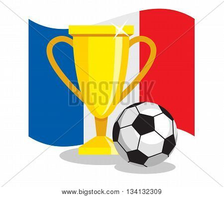 Football or soccer ball with cup and french flag on white background. Concept of championship, league, team sport. Concept of prize, leadership, winning and success. Winner award.