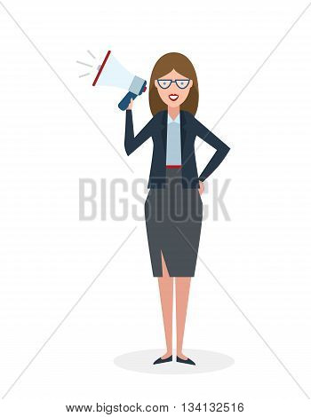 Business woman with megaphone on white background. Isolated businesswoman holding loudspeaker and book. Announcement and advertising. Attention please. Loud voice.