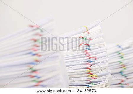 Pile Document Have Blur Overload Paperwork As Foreground And Background