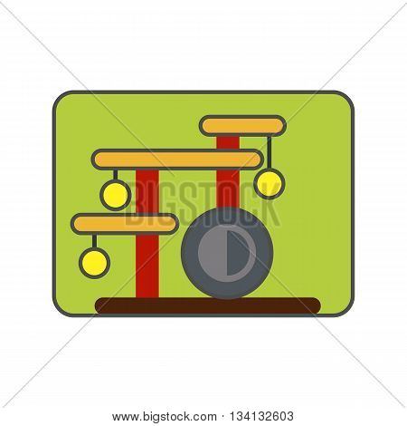 Cat house icon. Colored vector icon of cat house with special construction for scratching claws