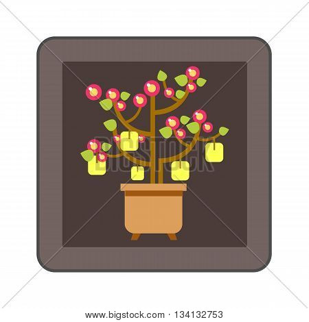 Chinese peach tree icon. Colored line icon of Chinese New Year peach tree with packets with wishes