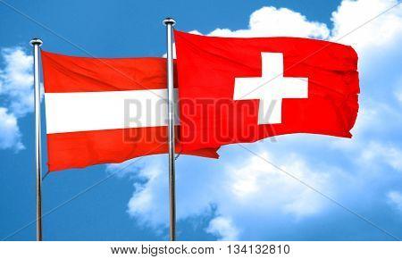 Austria flag with Switzerland flag, 3D rendering